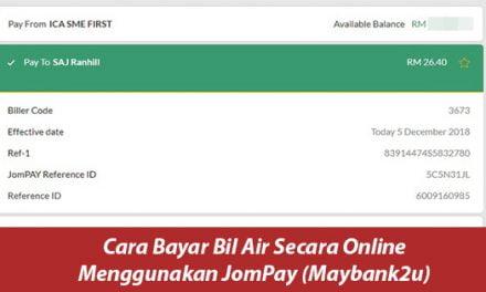 Cara Bayar Bil Air Online Menggunakan JomPay (Maybank2u)